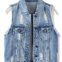 'The Paulina'  Blue Sleeveless Denim Vest