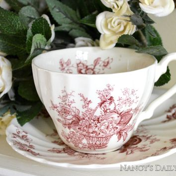 Vintage English Red and White Transferware Cup and Saucer Basket of Fruits and Flowers