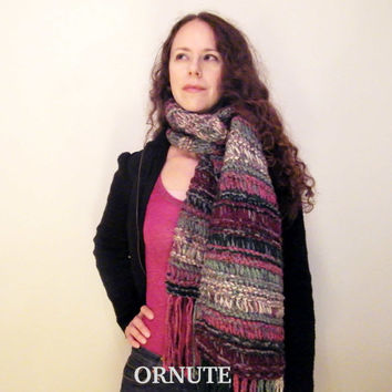 Chunky Knitted Scarf Cowl -The Minnesotan Scarf - Soft Hand Knit Infinity Scarf-Pink /grey /green