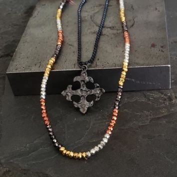 Tribal Earthy Edgy Colorful Mixed Bead Pyrite Necklace