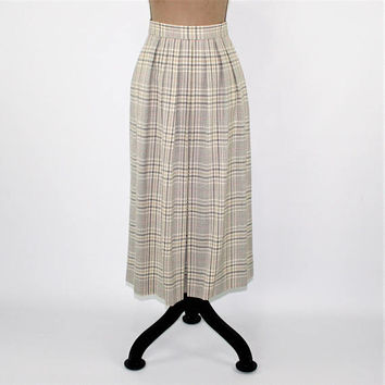 80s High Waist Pleated Skirt Wool Skirt Small White and Gray Plaid Skirt with Pockets JH Collectibles Vintage Clothing Womens Clothing