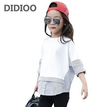 Teenage Kids Shirts For Girls Tops Cotton Striped Girls Blouses Spring Autumn