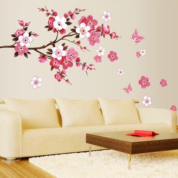 3D Wallpaper Oversized pink peach tree flower decorative wall stickers living room bedroom TV background girl room murals