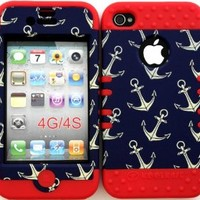 Bumper Case for Apple iphone 4 4G 4S Anchor Pattern hard plastic snap on over Red Silicone Gel