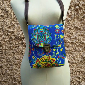 Tribal Tropical Shoulder Toiletry Bag Cross body Neon Festival Bag Purse Travel Folk Style Phone Hippies Ethnic Pouch Bohemian Hobo in Blue