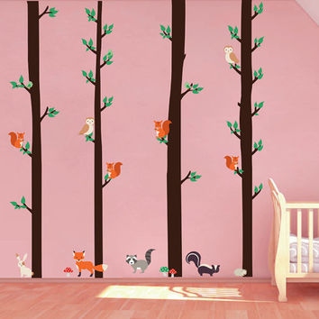 kcik1667 Full Color Wall decal bedroom children's room Custom Baby Nursery on bed baby tree nusery decal tree forest animals owl squirrel