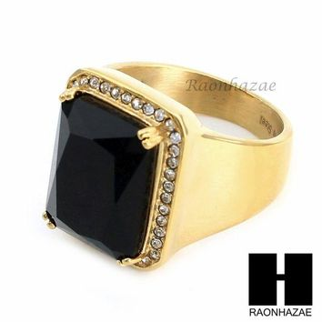 DCCKH7E MEN ICED OUT RING 316L STAINLESS STEEL GOLD BLACK ONYX CZ RING SIZE 8-12 SR015BK