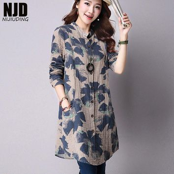 NIJIUDING Spring New Fashion Floral Print Cotton Linen Blouses Casual Long Sleeve Shirt Women Plus Size Women Top With Pockets