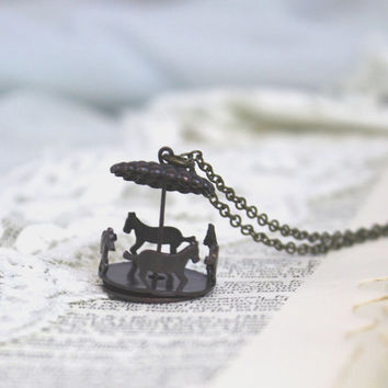 Carousel Necklace / Antique Brass