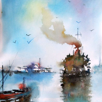 Original watercolor, Seascape,Ships