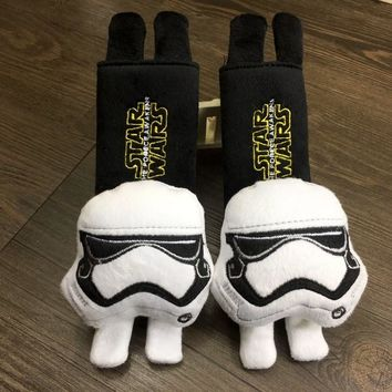 2pcs/pair Disney Star Wars Mickey Mouse Seat Belt Pad Harness Safety Shoulder Strap Back Pack Cushion pillow For children adult