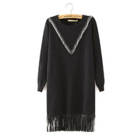 Black Leather Fringed Long-Sleeve Knitted Shirt