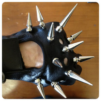 Warrior Mace Spiked Moto Gloves Fingerless Lady Gaga CHRISST
