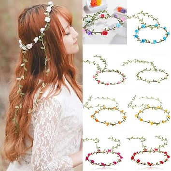 Rose Flower Crown Headband Hair Garland Bride Wedding Headwear Beach Accessories R2