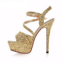 Women Gladiator Sandals Sexy Party Shoes Ankle Strap Sandals Glitter High Heels Shoes