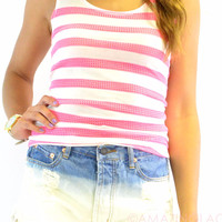 Electric Diva Pink Striped Tank