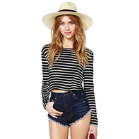 Black And White Stripes Long Sleeves Crop Top
