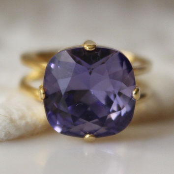 Tanzanite Ring Swarovski Elements Adjustable Cushion Cut Square Ring Purple Ring