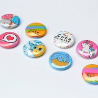 Illustrated Pinback Button Badges (set of 3) 25mm The Cute Quipster collection