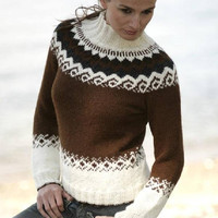 Woman sweater, nordic knitwear, alpaca sweater, jumper, fair isle jumper, handknit sweater, winter pullover, brown sweater, nordic, Lilith