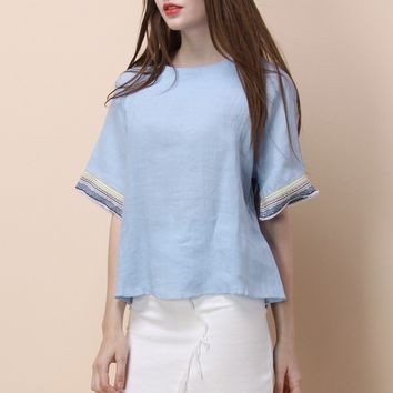 Boho At Ease Embroidered Chambray Top