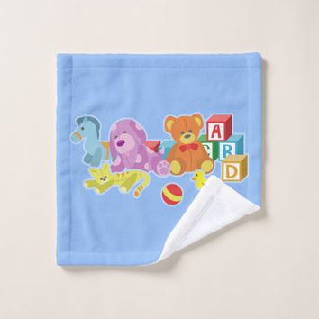 Cute Dolls (Blue) Wash Cloth