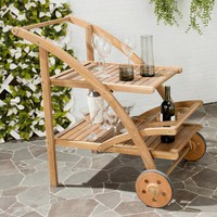 Natural Brown Wood Outdoor Tea Cart