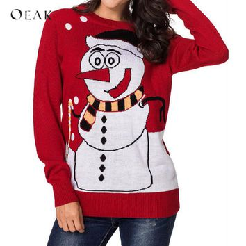 OEAK 2018 Ugly Christmas Jumpers Cute Snowman Print Sweater Autumn Winter Long Sleeve Knitted Pullover pull hiver femme 2018