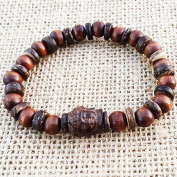Driftwood Buddha Wood Mala Natural Wood Mala Yoga Bracelet Yoga Jewelry Spiritual Men Bracelet Buddhist Wood Mala Gifts For Him
