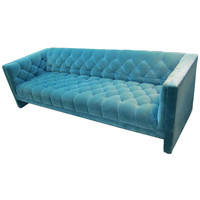 Lovely Mid-century Modern Turquoise Tufted Tuxedo Sofa