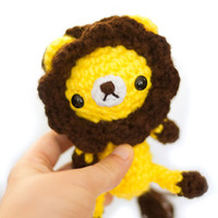 cute yellow and brown lion amigurumi plushie toy doll