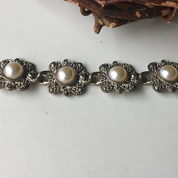 Faux Pearl and Marcasite (?) Bracelet, Vintage Bracelet, Linked Bracelet, Silver Plated Metal, Costume Jewelry, Etsy, Etsy Jewelry