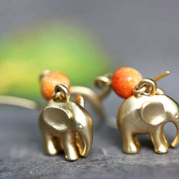 Elephant and Coral Earrings, 16k gold, Ethnic jewellery, boho earrings, tribal jewelry, hippie earrings, gold earrings, Palomita jewellery