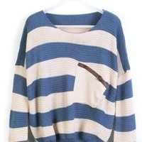 Blue White Stripe Bat Sleeve Sweater