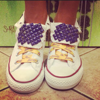 Los Angeles Lakers Custom Studded High Top Converse All Stars - Chuck Taylors! ALL SIZES & COLORS!!