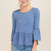 Annabella Stripe Peplum Top