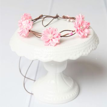 Light Pink flower crown, wooden Bridal halo | Flower girl crown