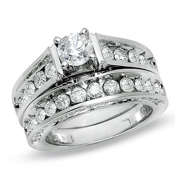 3 CT. T.W. Diamond Bridal Engagement Ring Set in 14K White Gold