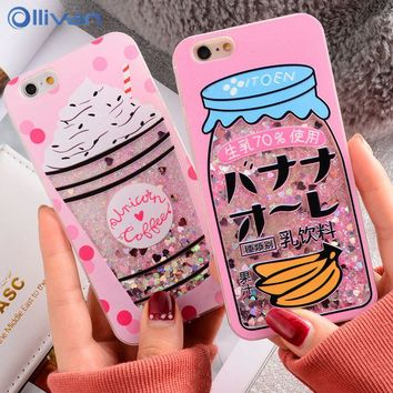 Girls bottle quicksand Case For iPhone 6 Case Cover TPU PC Glitter Dynamic Liquid Caphina Case For Iphone7 8 plus X Capa