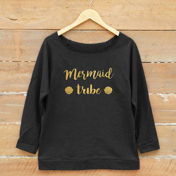 Women sweatshirt - Mermaid tribe shirt graphic t-shirt women off shoulder sweatshirt slouchy jumper gold print metallic print glitter print