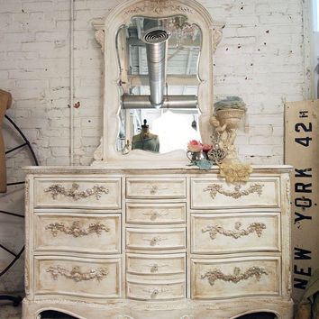 Painted Cottage Shabby White Romance Dresser by paintedcottages