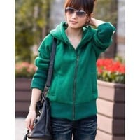 Green Hoodie Women Autumn Apparel New Style Fashion Korean Style Casual Thicken Hood Zipper Cotton Coat M/L @GP0023gr $25.26 only in eFexcity.com.