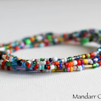 Set of Five Seed Bead Stretch Bracelets, Stackable Beaded Jewelry, Multicolor Beadwork, Gift for Her, 7 Inch Size, Ready to Ship