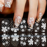New 3D White Lace Nail Art Tips Sticker Decal Full Wraps Glitters DIY Decoration