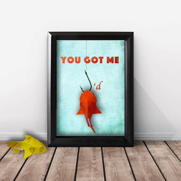 Funny Boyfriend Gift, Fishing Wall Art, Personalized Gift For Him, Her, Girlfriend, Handmade Origami Fish, 5 X 7 Shadowbox Frame