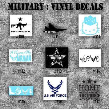 MILITARY vinyl decals - 109-117 - vinyl stickers - car window decal - personalized sticker - Army, Air Force, Navy and Marines
