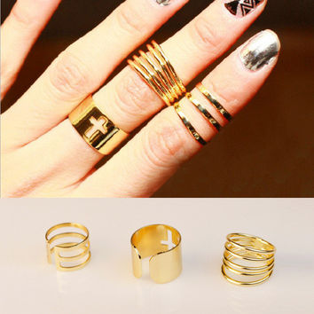 Strong Character Stripes Hollow Out Cross Rack Metal Gold Ring Set [6057010433]