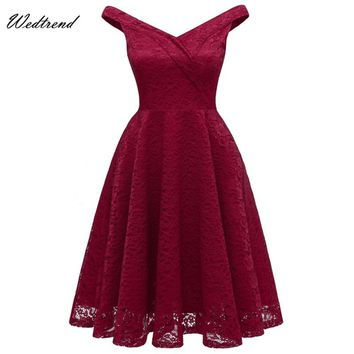 Wedtrend Sexy Red Lace Women Dresses New Arrival 2018 Free Delivery Beautiful Ladys Causal Dress In Stock Cheapest Charming Gown