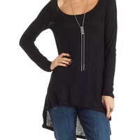 Long Sleeve High-Low Tunic Tee by Charlotte Russe