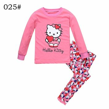 Brand New Children Pajamas Nightwear Leopard Hello Kitty  Loungewear Kids Girls Homewear Spring Autumn Sleepwear Cotton Cartoon